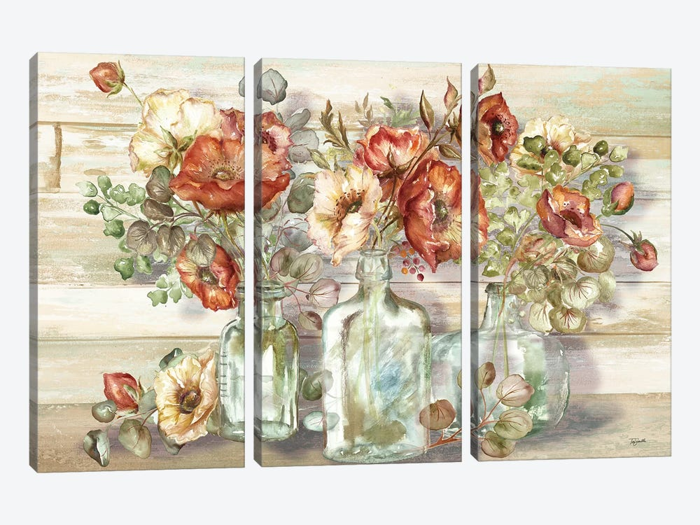 Spice Poppies and Eucalyptus In Bottles Landscape by Tre Sorelle Studios 3-piece Canvas Print