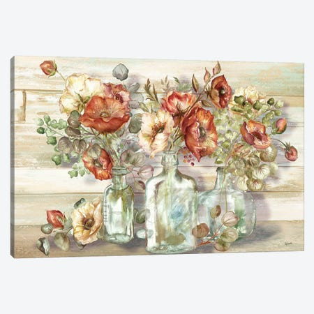 Spice Poppies and Eucalyptus In Bottles Landscape Canvas Print #TSS121} by Tre Sorelle Studios Canvas Artwork