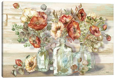 Spice Poppies and Eucalyptus In Bottles Landscape Canvas Art Print