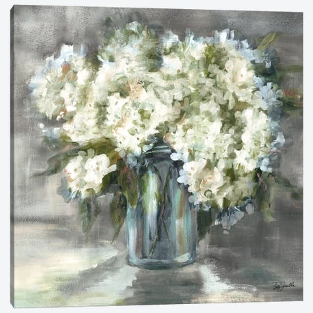 White and Taupe Hydrangeas Sill Life Canvas Print #TSS122} by Tre Sorelle Studios Canvas Art