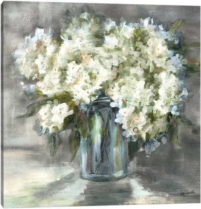 White and Taupe Hydrangeas Sill Life Canvas Art Print
