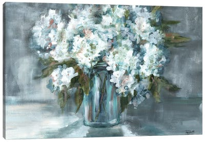 White Hydrangeas on Gray Landscape Canvas Art Print