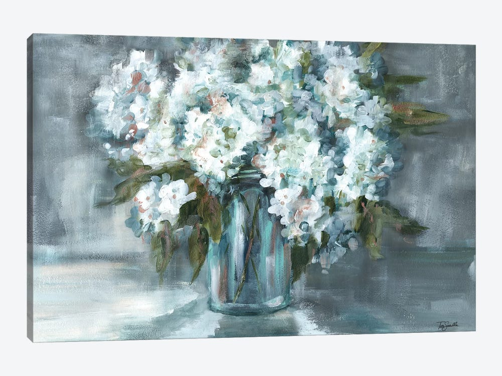 White Hydrangeas on Gray Landscape by Tre Sorelle Studios 1-piece Canvas Print