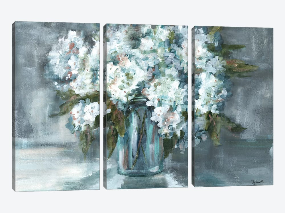 White Hydrangeas on Gray Landscape by Tre Sorelle Studios 3-piece Art Print