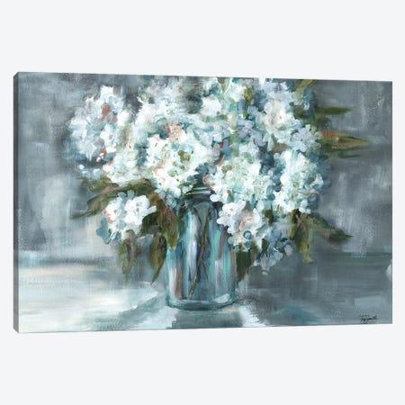 White Hydrangeas on Gray Landscape Canvas Print #TSS123} by Tre Sorelle Studios Canvas Artwork