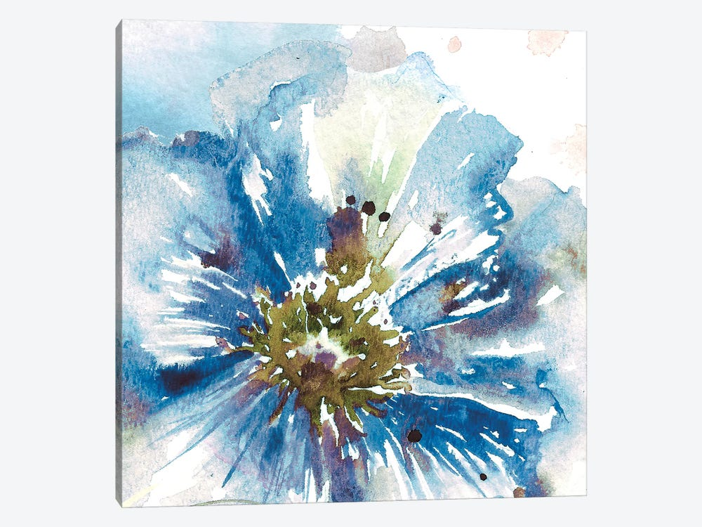 Blue Watercolor Poppy Close Up I 1-piece Canvas Artwork