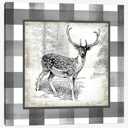 Buffalo Check Deer Neutral I Canvas Print #TSS129} by Tre Sorelle Studios Canvas Artwork