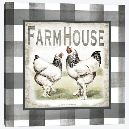 Buffalo Check Farm House Chickens Neutral I Canvas Print #TSS131} by Tre Sorelle Studios Art Print