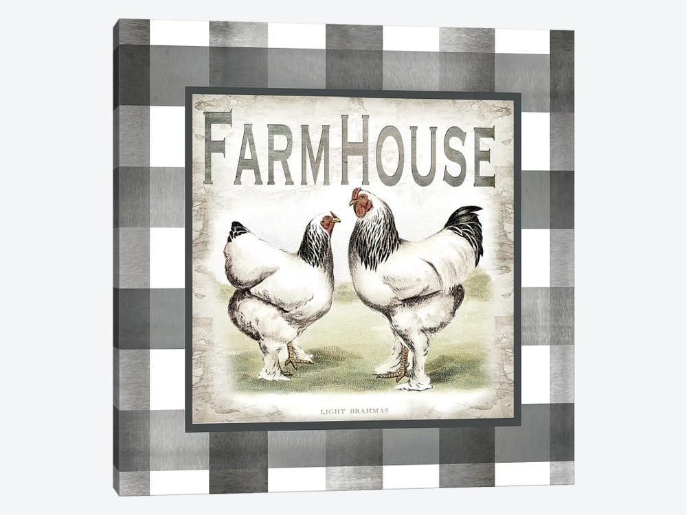 Buffalo Check Farm House Chickens Neutral I by Tre Sorelle Studios 1-piece Canvas Wall Art