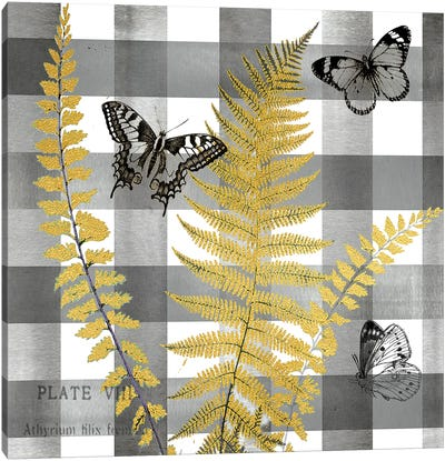 Buffalo Check Ferns and Butterflies Neutral I Canvas Art Print