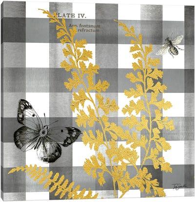 Buffalo Check Ferns and Butterflies Neutral II Canvas Art Print
