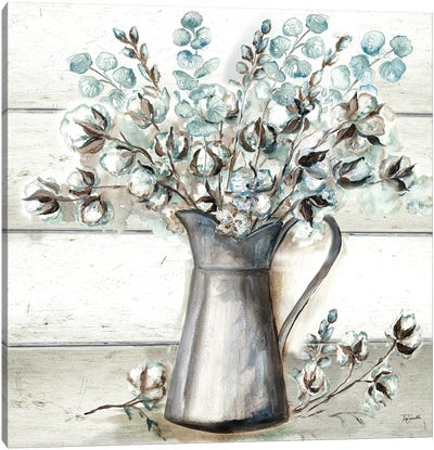 Farmhouse Cotton Tin Pitcher Canvas Art Print