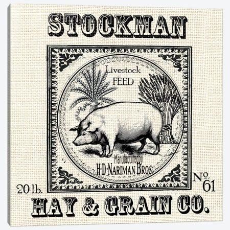 Farmhouse Grain Sack Label Pig Canvas Print #TSS139} by Tre Sorelle Studios Art Print