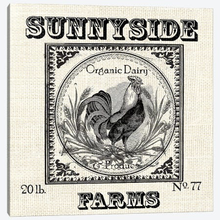 Farmhouse Grain Sack Label Rooster Canvas Print #TSS140} by Tre Sorelle Studios Canvas Artwork