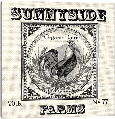 Farmhouse Grain Sack Label Rooster Canvas Art Print