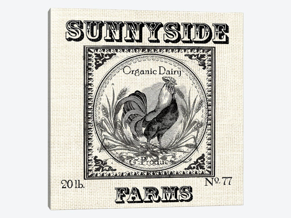 Farmhouse Grain Sack Label Rooster by Tre Sorelle Studios 1-piece Canvas Wall Art