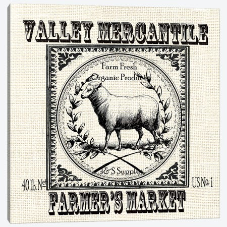 Farmhouse Grain Sack Label Sheep Canvas Print #TSS141} by Tre Sorelle Studios Canvas Artwork