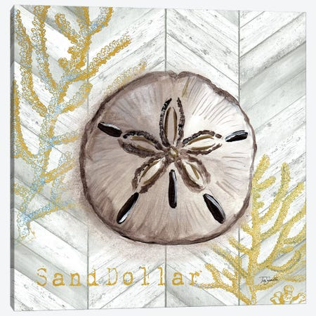 Gray Gold Chevron Sand Dollar Canvas Print #TSS145} by Tre Sorelle Studios Canvas Print