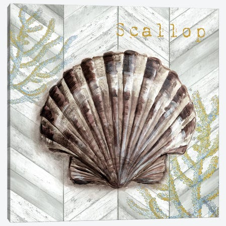 Gray Gold Chevron Scallop Shell Canvas Print #TSS146} by Tre Sorelle Studios Art Print