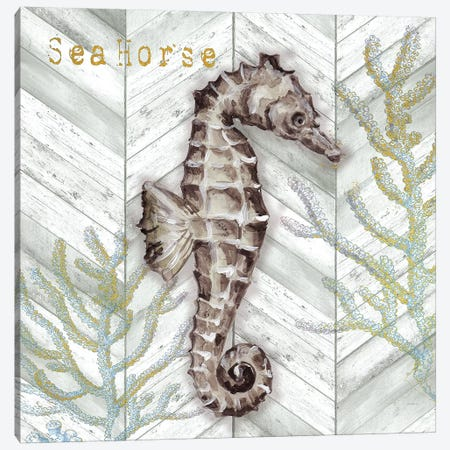 Gray Gold Chevron Seahorse Canvas Print #TSS147} by Tre Sorelle Studios Art Print