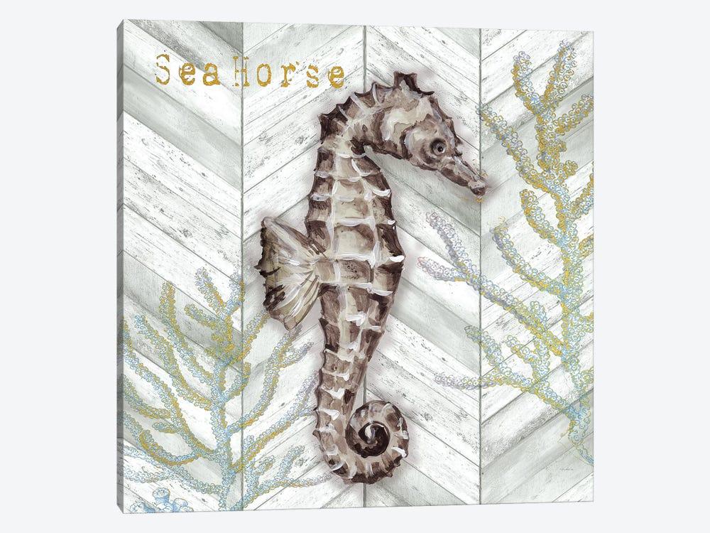 Gray Gold Chevron Seahorse by Tre Sorelle Studios 1-piece Canvas Art Print