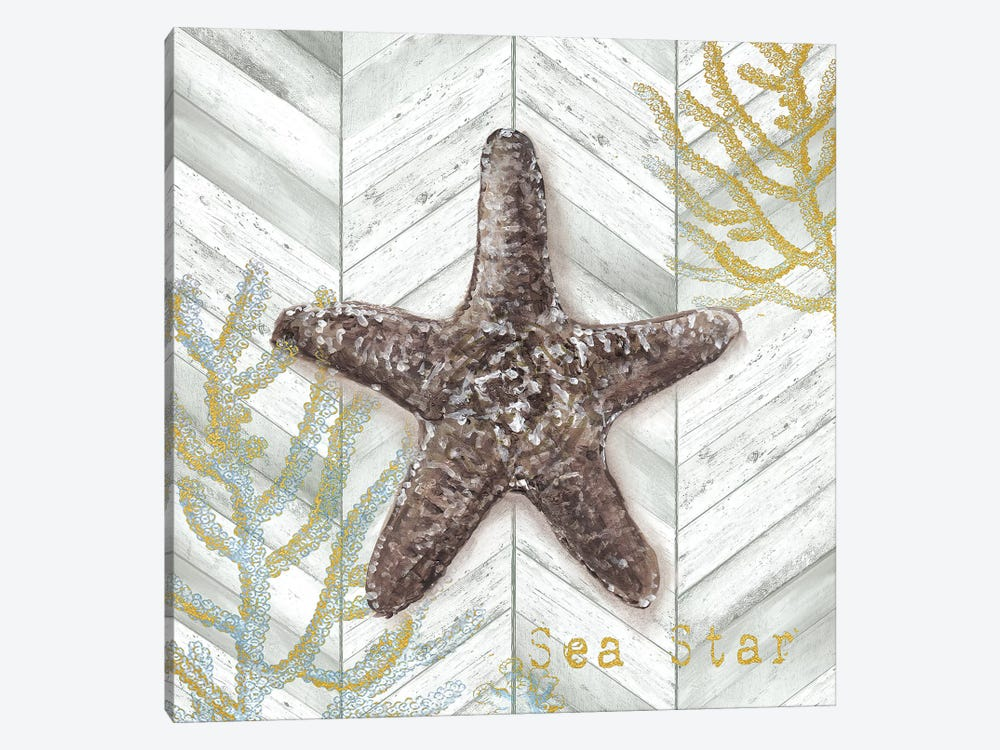 Gray Gold Chevron Star Fish by Tre Sorelle Studios 1-piece Canvas Artwork