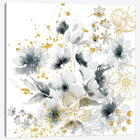 Watercolor Gray and Gold Floral Canvas Print #TSS153} by Tre Sorelle Studios Canvas Print