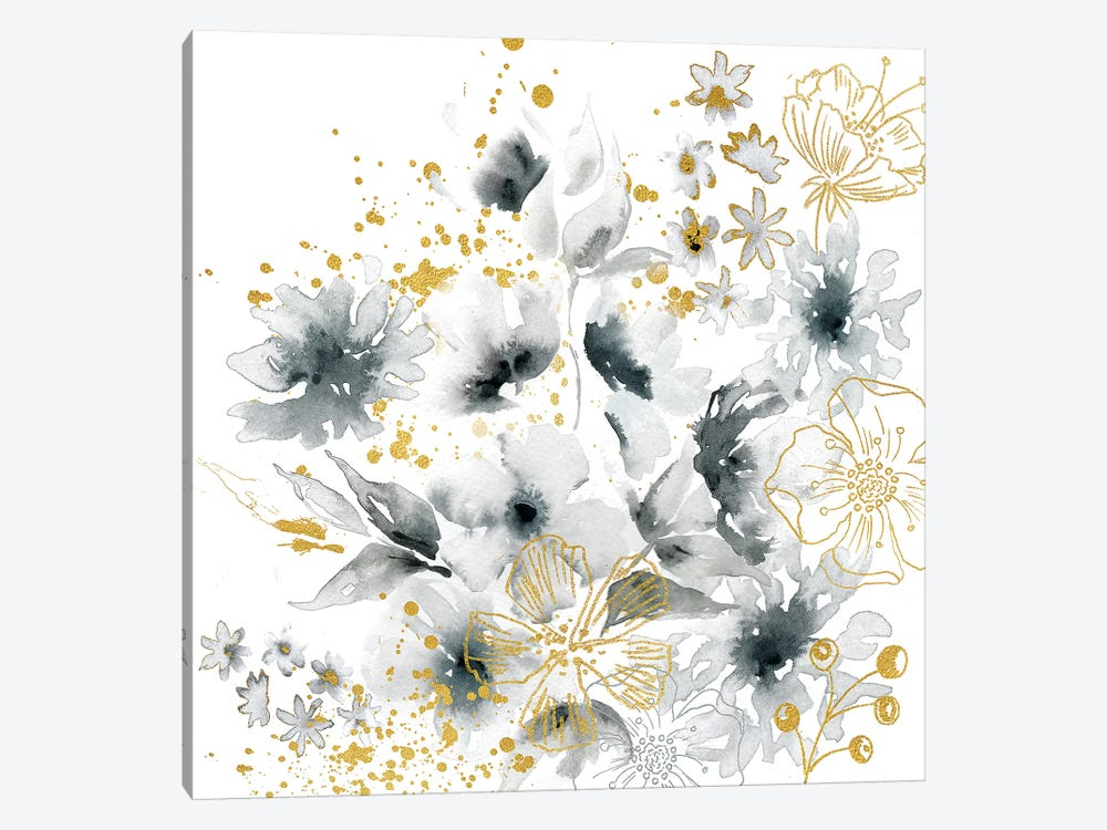 Watercolor Gray and Gold Floral by Tre Sorelle Studios 1-piece Canvas Wall Art