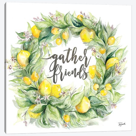 Watercolor Lemon Wreath Gather Friends Canvas Print #TSS154} by Tre Sorelle Studios Canvas Art
