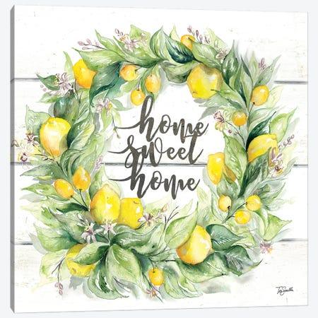 Watercolor Lemon Wreath Home Sweet Home Canvas Print #TSS155} by Tre Sorelle Studios Canvas Wall Art