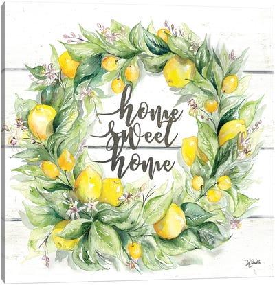 Watercolor Lemon Wreath Home Sweet Home Canvas Art Print