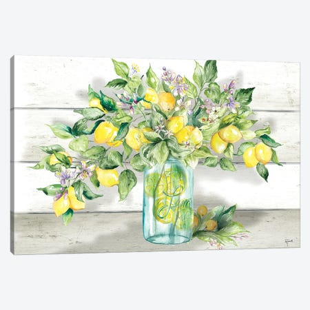Watercolor Lemons in Mason Jar Landscape Canvas Print #TSS156} by Tre Sorelle Studios Canvas Wall Art