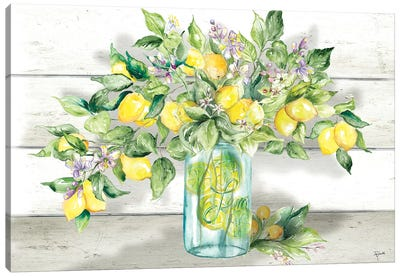 Watercolor Lemons in Mason Jar Landscape Canvas Art Print