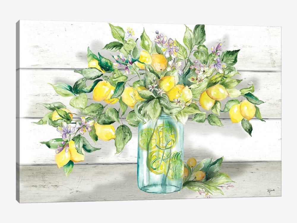 Watercolor Lemons in Mason Jar Landscape by Tre Sorelle Studios 1-piece Canvas Print