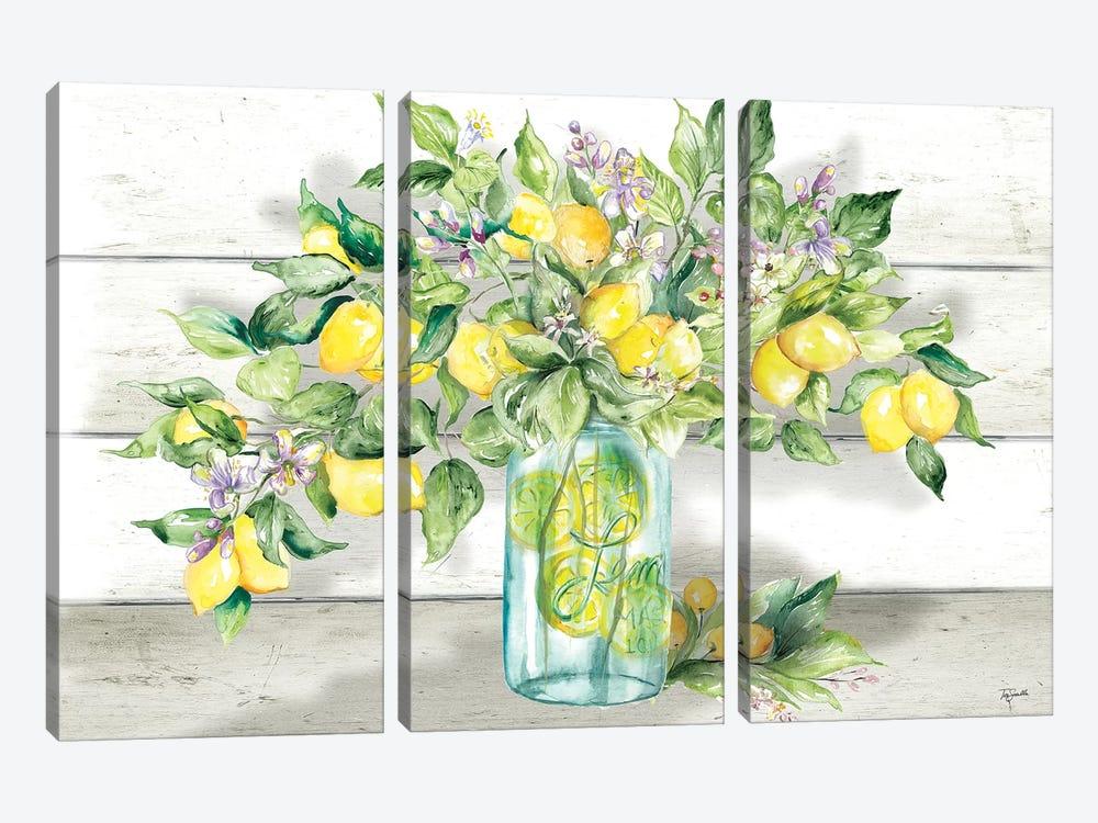Watercolor Lemons in Mason Jar Landscape by Tre Sorelle Studios 3-piece Canvas Art Print