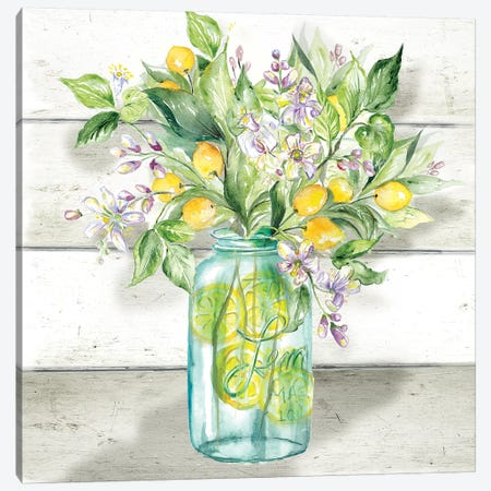 Watercolor Lemons in Mason Jar on shiplap Canvas Print #TSS157} by Tre Sorelle Studios Canvas Art