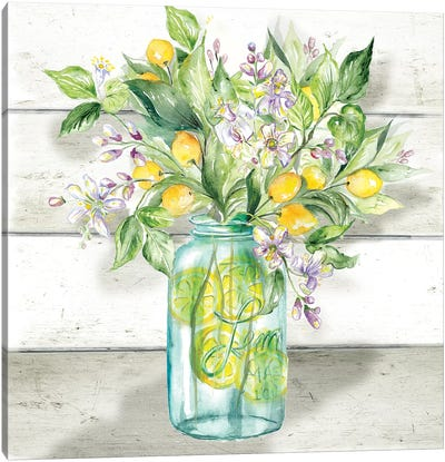 Watercolor Lemons in Mason Jar on shiplap Canvas Art Print