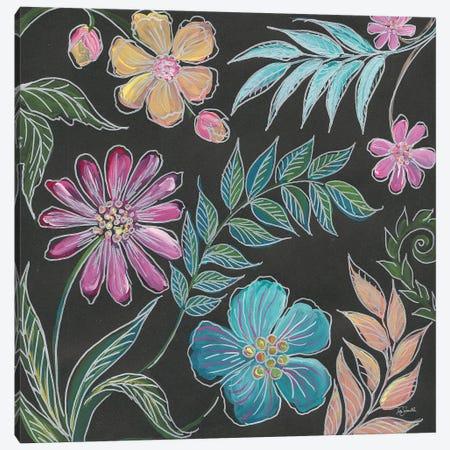 Boho Florals on Black I Canvas Print #TSS161} by Tre Sorelle Studios Canvas Art