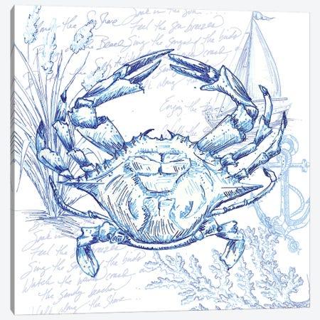 Coastal Sketchbook Crab Canvas Print #TSS163} by Tre Sorelle Studios Canvas Artwork