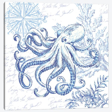 Coastal Sketchbook Octopus Canvas Print #TSS164} by Tre Sorelle Studios Canvas Art Print