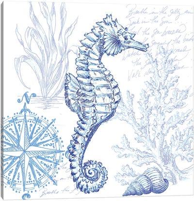 Coastal Sketchbook Sea Horse Canvas Art Print