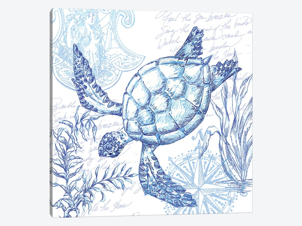 Coastal Sketchbook Turtle by Tre Sorelle Studios 1-piece Canvas Print