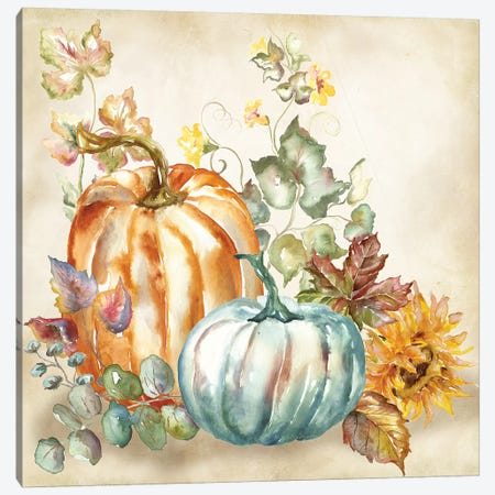 Watercolor Harvest Pumpkin I Canvas Print #TSS188} by Tre Sorelle Studios Canvas Artwork