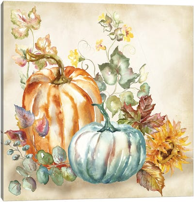 Watercolor Harvest Pumpkin I Canvas Art Print