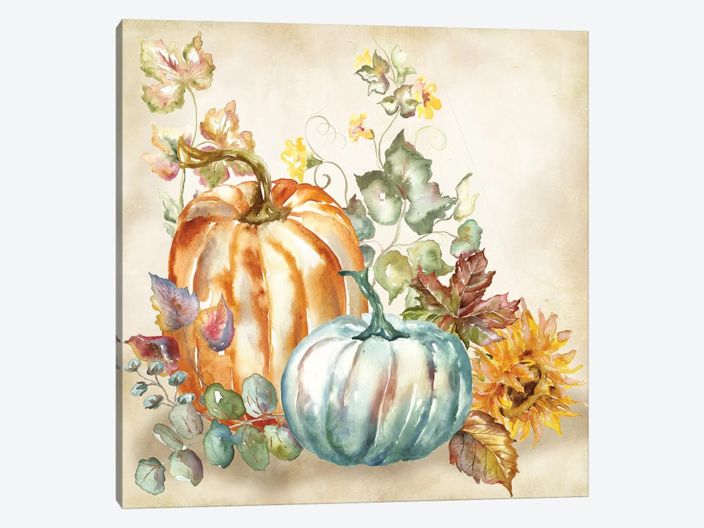 Watercolor Harvest Pumpkin I by Tre Sorelle Studios 1-piece Canvas Wall Art