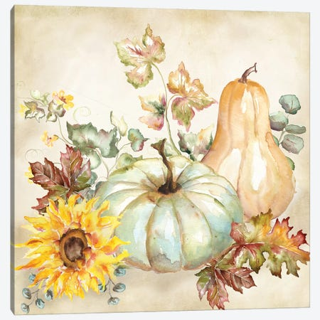 Watercolor Harvest Pumpkin II Canvas Print #TSS189} by Tre Sorelle Studios Canvas Wall Art