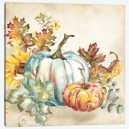 Watercolor Harvest Pumpkin III Canvas Print #TSS190} by Tre Sorelle Studios Canvas Print