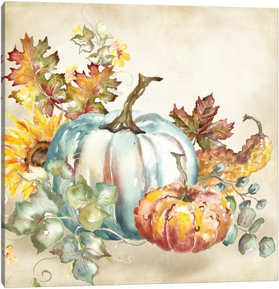 Watercolor Harvest Pumpkin III Canvas Art Print