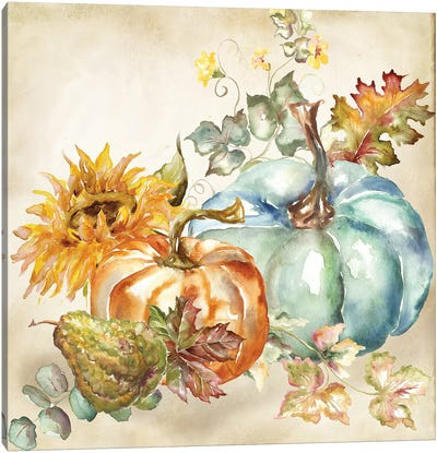 Watercolor Harvest Pumpkin IV Canvas Art Print