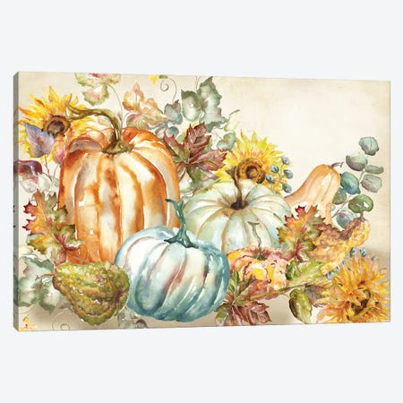 Watercolor Harvest Pumpkin landscape Canvas Print #TSS192} by Tre Sorelle Studios Canvas Art Print